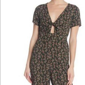 CHANCE Short Sleeve Tie Front Floral Jumpsuit